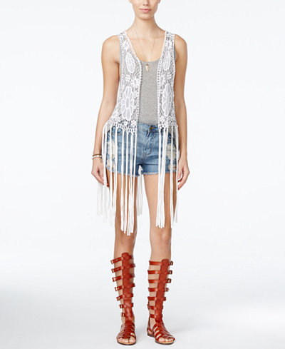 Collection XIIX Lace Vest with Jersey Fringe