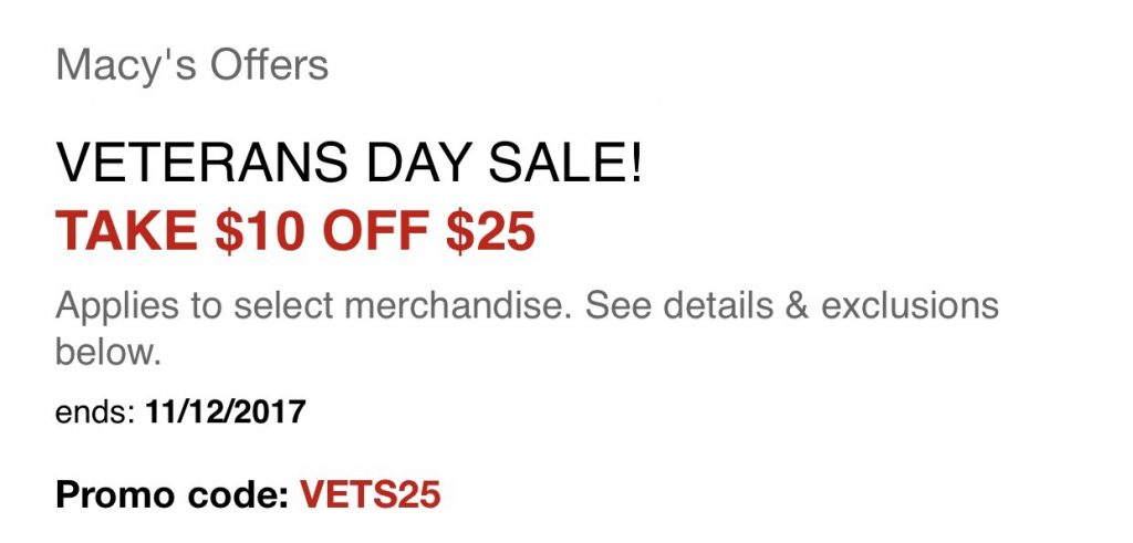 Macy's Veteran's Day Savings Pass