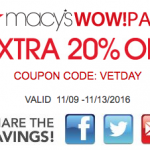 Macy's Veterans Day Sale Savings Pass