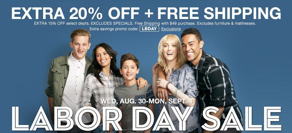 Ending today, Macy's takes up to 70% off in most departments sitewide during its Labor Day Sale. (Prices are as marked.) (Prices are as marked.) Plus, cut an extra 20% off via coupon code