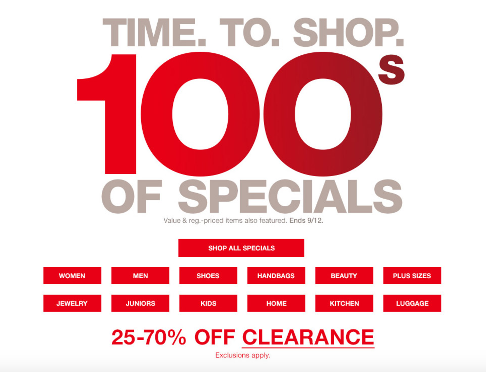 Time to Shop 100s of Specials Sale