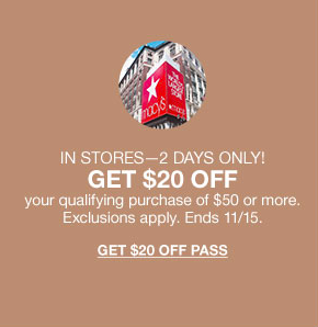 Macy's November Savings Pass