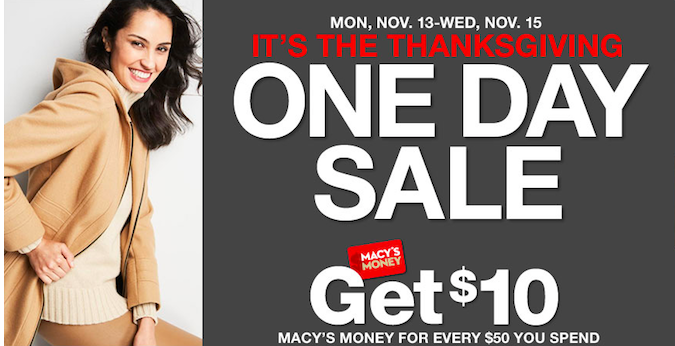 Macy's Thanksgiving One Day Sale November 2017