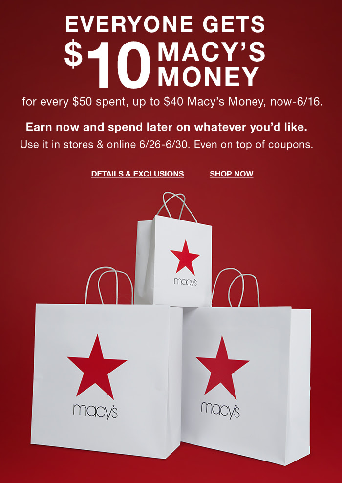 Macy's Star Money-Earn up to $40 in Reward Cards!