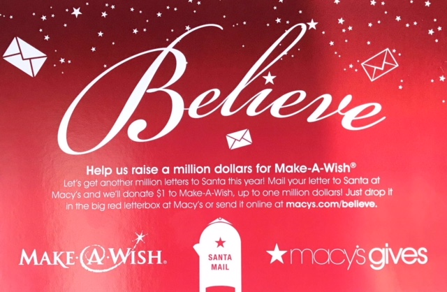 Macy's 'believe postcard flyer