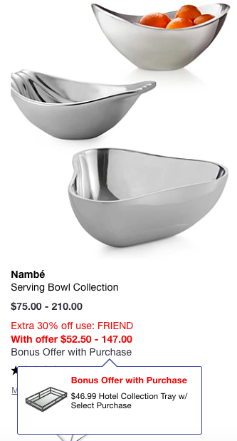 macys nambe serving bowl wiht bonus offer