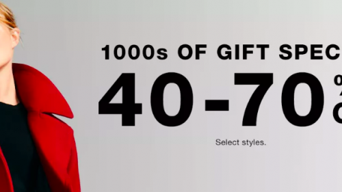 macys gift specials banner with woman in red coat