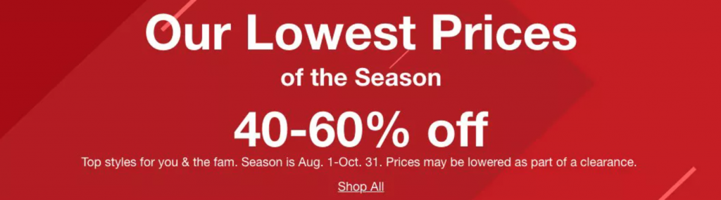 Lowest Prices of the Season Sale